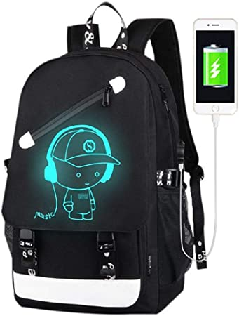 Kimetsu No Yaiba Japanese Movie Youth Fashion Anime Multifunction Schoolbag Travel Bag Laptop Backpack with USB Charging Port and Headphone Jack for Students Outdoor
