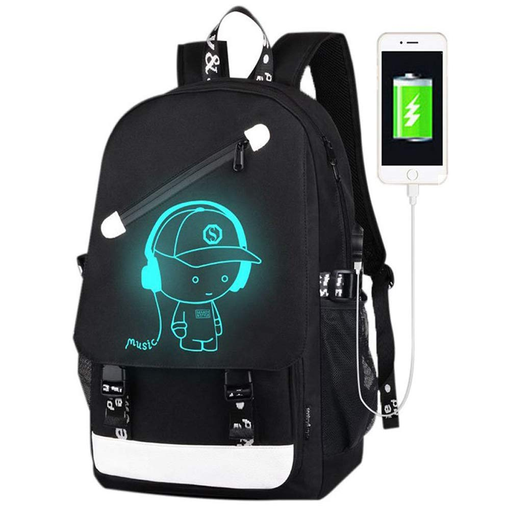 FLYMEI Anime Luminous Backpack, Laptop Backpack with USB Charging Port, Bookbag for College with Anti-Theft Lock, Black Travel Bag Cool Fashion Backpack for Work, 17.7'' x 11.8'' x 5.5'' by FLYMEI