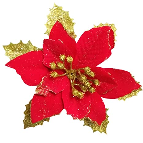 amazoncom christmas glitter poinsettia christmas tree ornaments pack of 12 red home kitchen