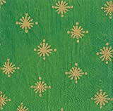 Caspari Starry Green large gold Christmas stars on a green background Luncheon Paper Table Napkins 20 in a pack 33cm square