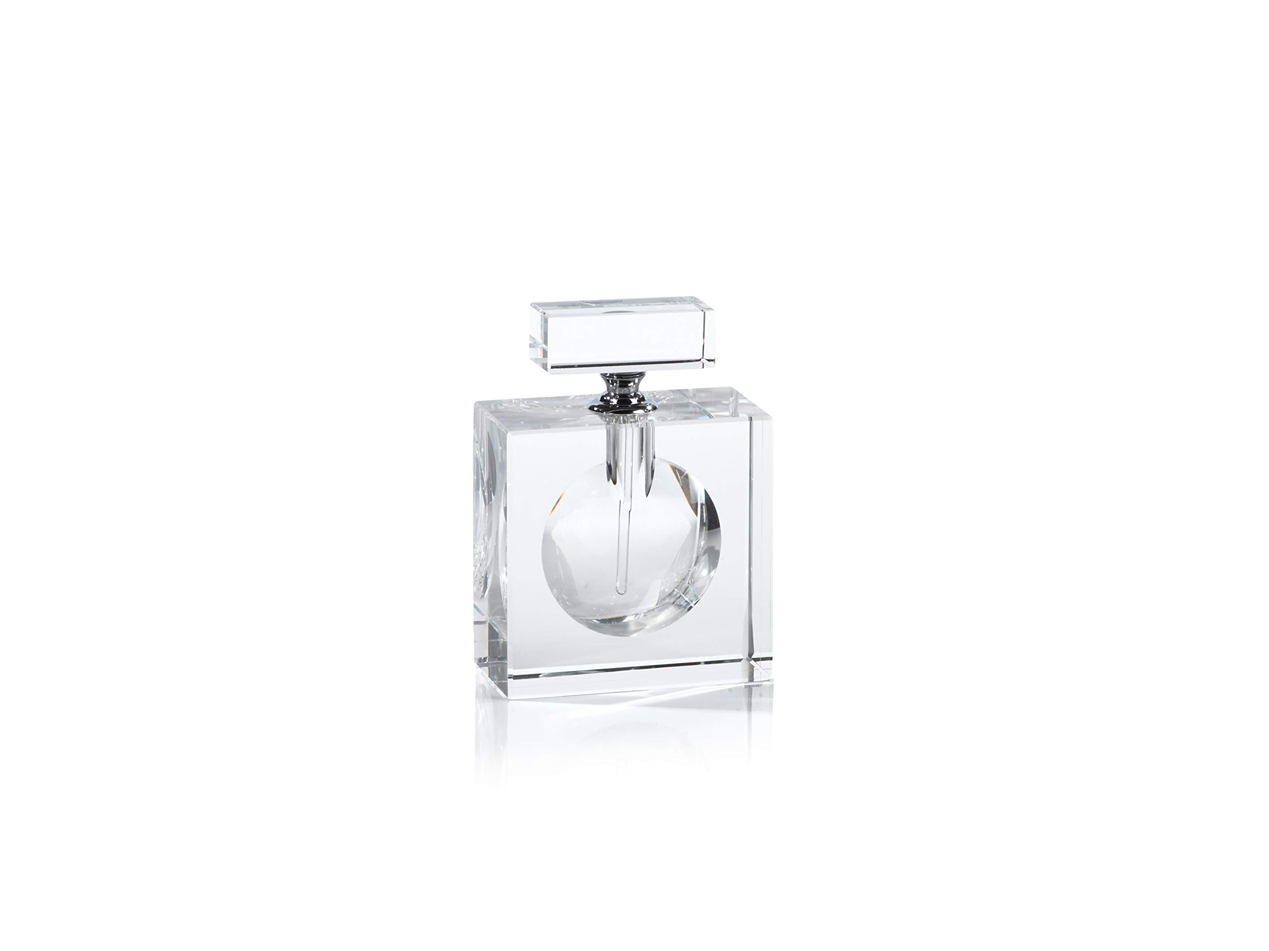 Zodax Malak Rectangular Glass Perfume Decorative Bottle, Clear