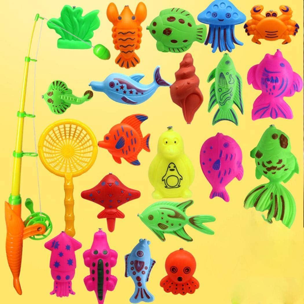 Kloius Creative Baby Bathing Toy Juego de Juguete de Pesca magn/ético de 22 Piezas Aire Libre y Deportes