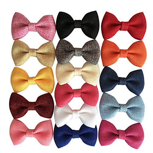 Yazon 3inch Fabric Hair Bows Without Clips Baby Girl's Kid's Burlap Bows Boy Bow Ties 16pcs ()