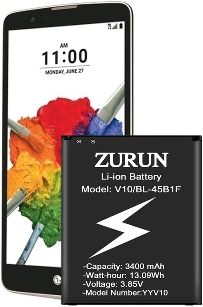 ZURUN LG Stylo 2 Battery Upgraded 3400mAh BL-45B1F Battery BL-45B1F Replacement for LG Stylo 2 Plus MS550 K550 LS775 LTE L81AL K540, LG Stylo 2 Spare Battery