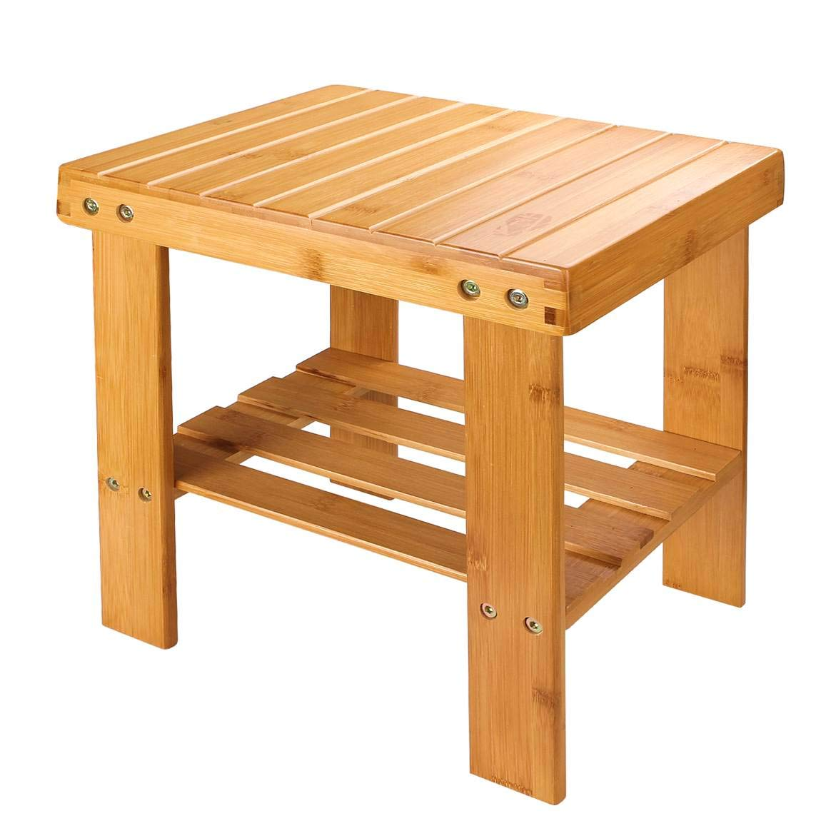 A+Selected Bamboo One Step Stool 13 inch Wooden Foot Stool with Storage Shelf for Mudroom Foyer Entryway Shoe Bench.