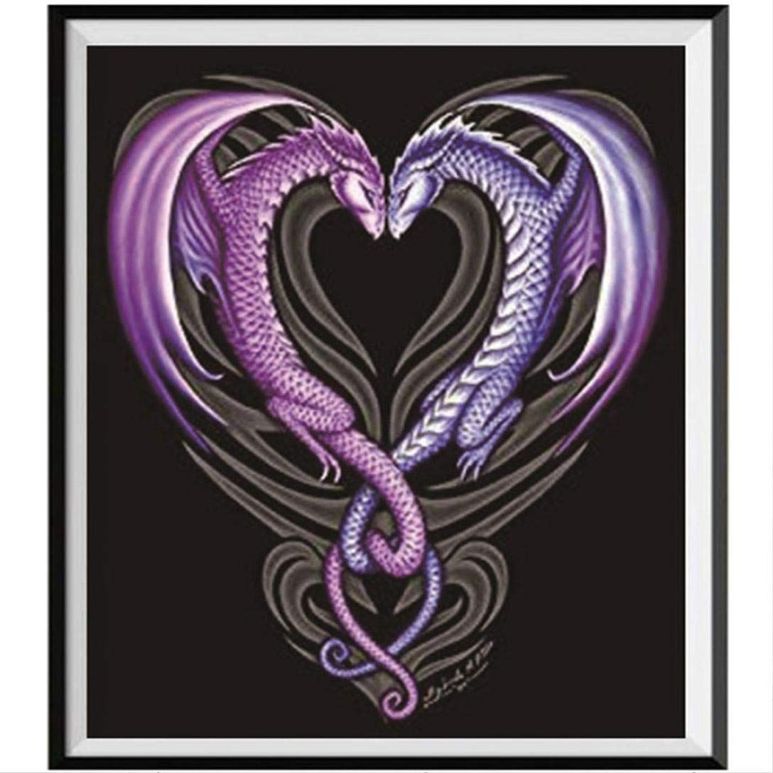 Love Dragon 5D Christmas Diamond Painting by Number Kits,samLIKE Home and Lunch Diamond Craft Full Drill Cross Stitch Art Home Decoration (A)