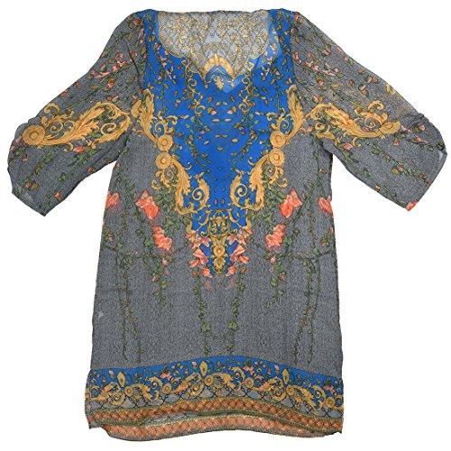 TOOGOO(R) Robe imprimee de fleurs en mousseline de soie Casual robe de veste chemisier Bleu XL