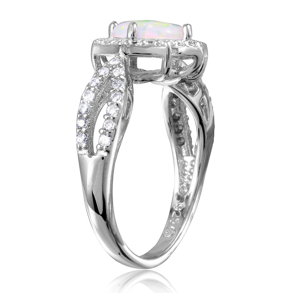 Princess Kylie Halo Set Round Synthetic Opal Cubic Zirconia Ring Rhodium Plated Sterling Silver