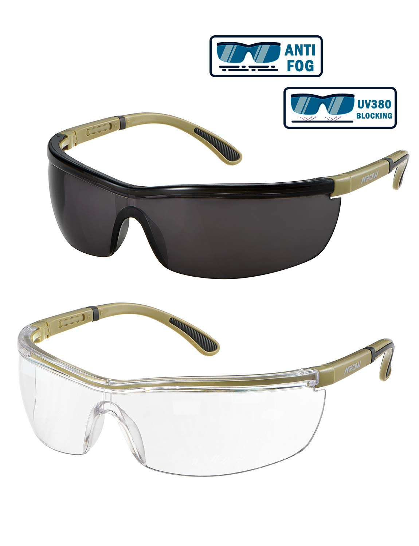 Gafas de seguridad Mpow, lentes transparentes y tintadas, antiniebla/arañazos, UV 380/luz azul/ alta resistencia al impacto, brazos ajustables, antideslizantes, 2 pares