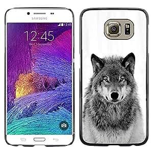 Caucho caso de Shell duro de la cubierta de accesorios de protección BY RAYDREAMMM - Samsung Galaxy S6 SM-G920 - Wild Wolf Howl Black White