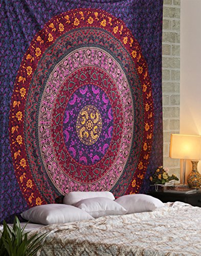 RAJRANG BRINGING RAJASTHAN TO YOU Large Hippie Tapestry - Mandala Bohemian Tapestries Indian Dorm Decor Psychedelic Tapestry Wall Hanging Ethnic Decorative Urban Tapestry - Multicolour - 90 X 84 Inch