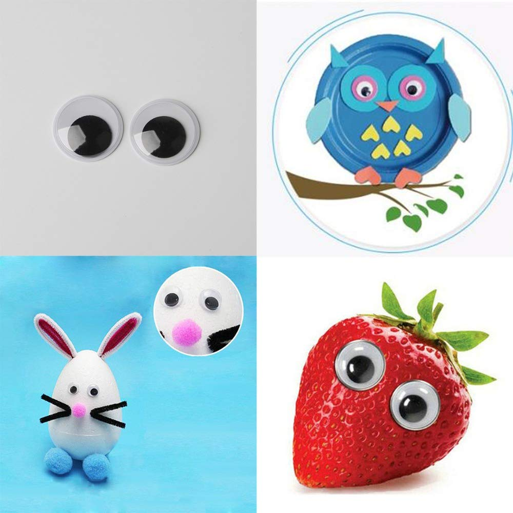 Floranea 60 Pcs 1 Inch Wiggle Eyes Self Adhesive Pack Round Sew on Small Googly Eyes Stickers for Craft Scrapbooking Supplies Classroom Kids Children Handmade Project Decoration