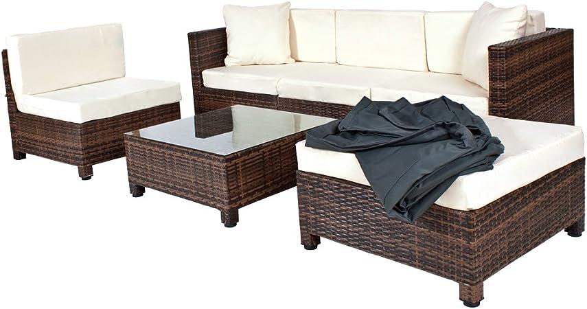 TecTake - Conjunto muebles de Jardín en Poly Ratán Aluminio, color ...