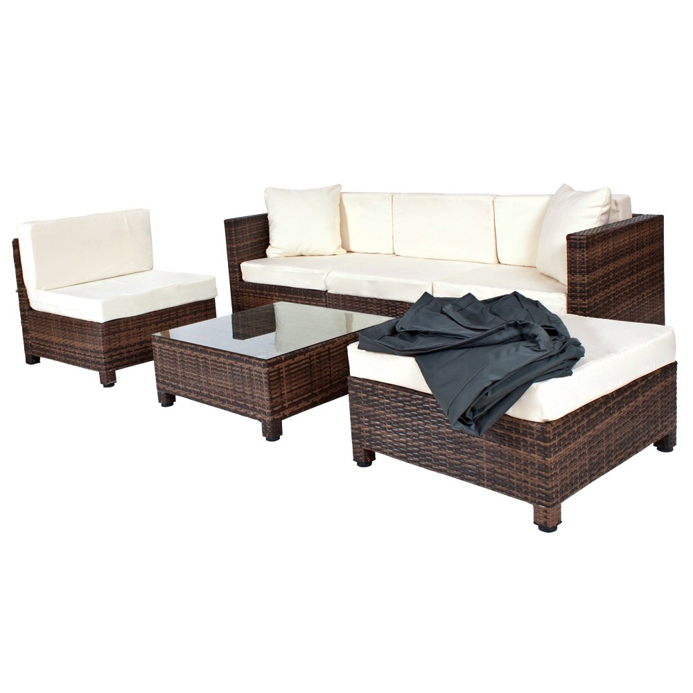 tectake hochwertige aluminium luxus lounge mit 2 bezugssets rattanlounge set poly rattan. Black Bedroom Furniture Sets. Home Design Ideas