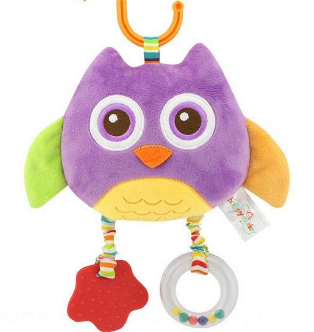 Royarebar Women's Accessories Cosmetic Mirror Kids Infant Lovely Owl Rolling Hand Grasp Mirrors Toy Colorful Safety Mirror Gift