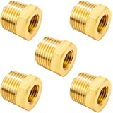 """Joywayus Brass Reducing Hex Bushing 1/2"""" NPT Male to 1/4"""" NPT Female Pipe Fitting Reducer Adapter(Pack of 5)"""
