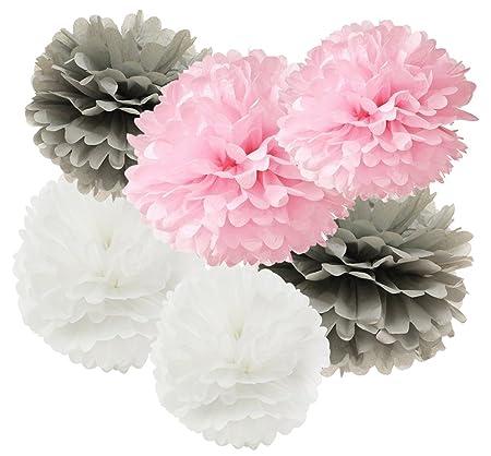 12 pcs pink grey white hanging tissue paper pom pom 10inch 8inch 12 pcs pink grey white hanging tissue paper pom pom 10inch 8inch paper flowers rose hanging mightylinksfo