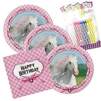 Amazon.com: Corazón Mi Caballo Feliz cumpleaños Tema Platos ...
