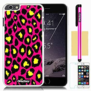 Oksobuy® Apple iPhone 6 Plus Case iPhone 6 Plus (5.5 Inch) Case High Quality Fashion Luxury Designer Fashion Leopard pattern Background Pattern Design High Impact Case Cover Skin Protection for Apple Iphone 6 Plus (5.5 Inch) with Screen Protector and Stylus (White with Rose Pink Leopard)