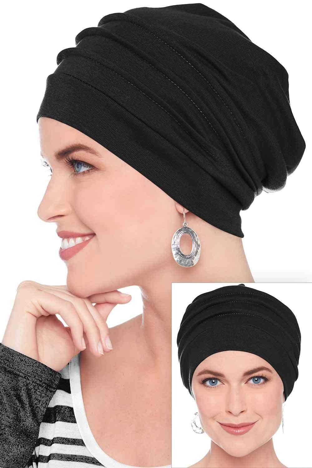 Headcovers Unlimited 100% Cotton Slouchy Snood Caps for Women with Chemo Cancer Hair Loss Black