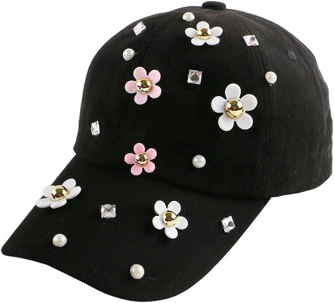 BAIELFES Daisy Flower Heel Decoration Hip Hop Denim Outdoor Summer Baseball Cap
