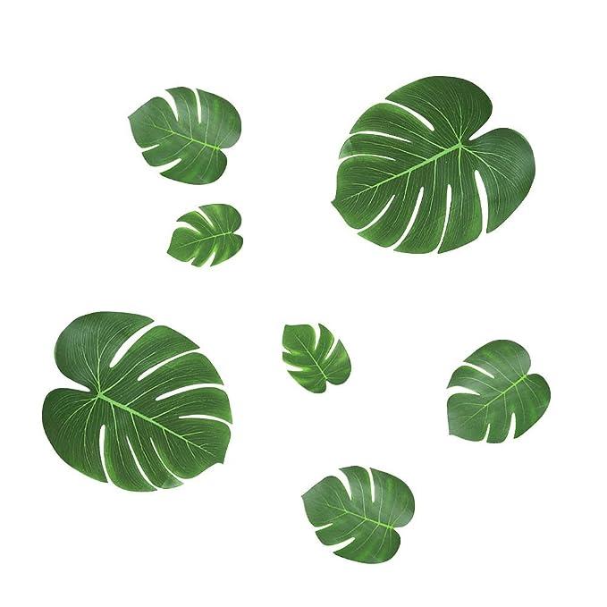 Shintop - 36 hojas artificiales tropicales, hojas falsas de palma, luau hawaiano selva playa temática decoración para fiesta, boda, graduación (L x 12, ...