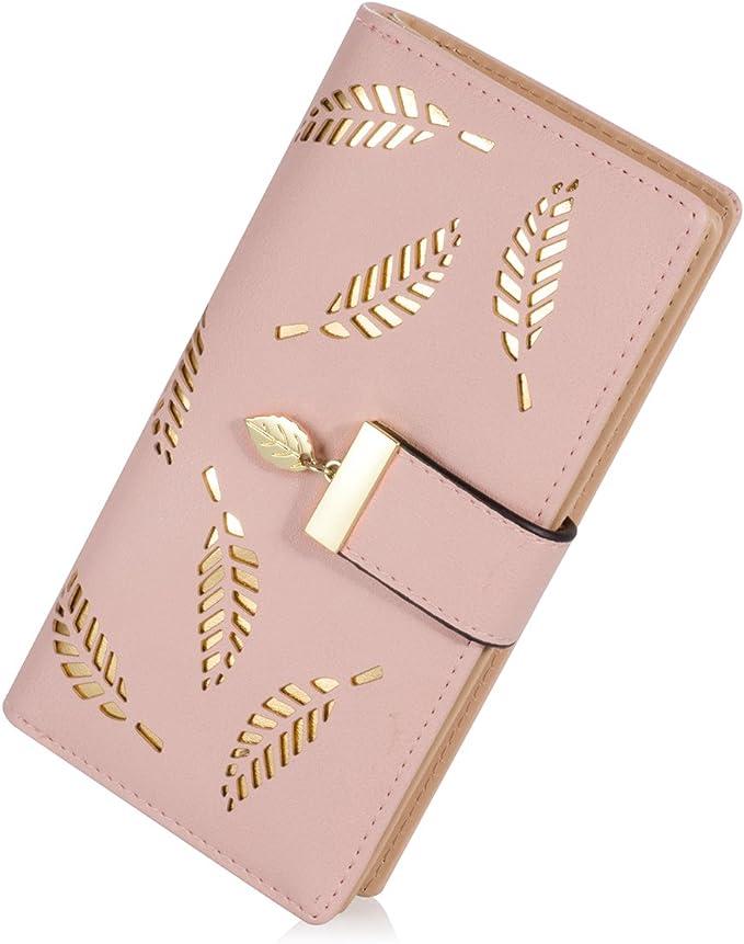 Women's Long Leaf Bifold Wallet Leather Card Holder