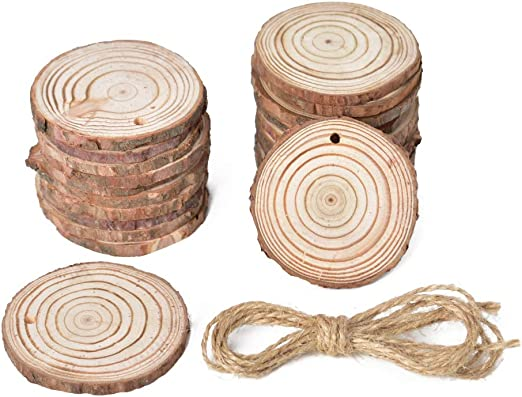 Unfinished Natural Wood Slices Wooden Circles with Tree Bark Log Discs for DIY Craft Rustic Wedding Ornaments 2.4-2.8 inch 50pcs