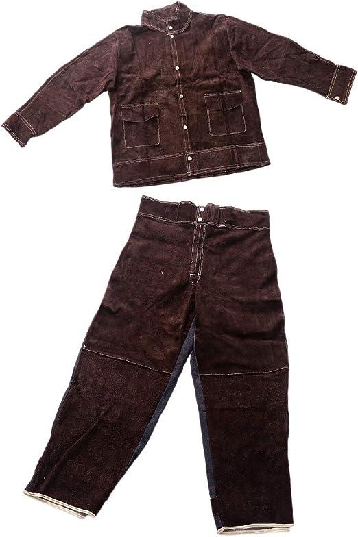 non-brand Sharplace Trajes de Soldadura Resistentes Al Calor Camisa Marrón Anti Escaldado XL + Pants XL: Amazon.es: Hogar