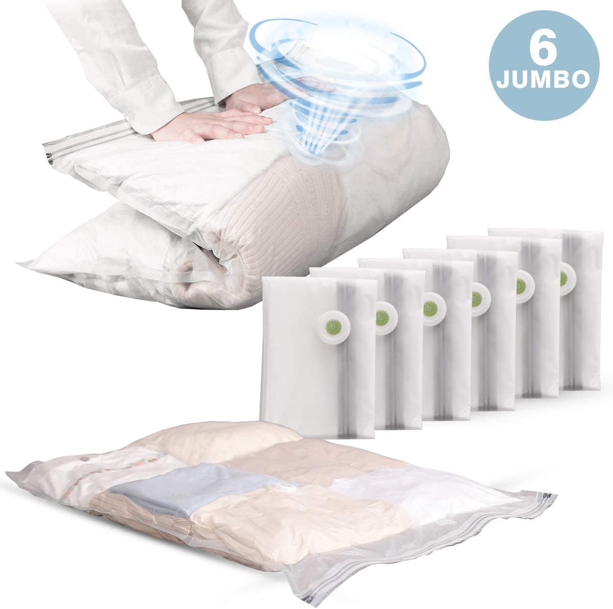 Vacuum Storage Bags Sealer Bags for Clothes Space Saving 6 Pack Jumbo Size 32x 39 for Home Travel Organizing Frosted No Vacuum /& Pump Needed LEVERLOC Space Saver Bags