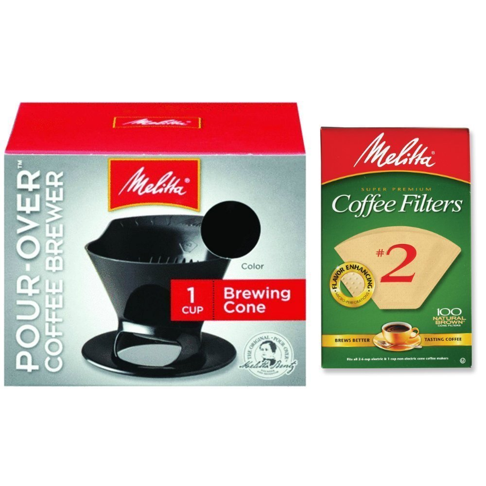 Melitta Pour Over Coffee Cone Brewer & #2 Filter Natural Brown Combo Set, Black by Melitta