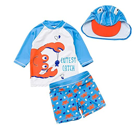 3062cc192c Amazon.com: Toddler Baby Boys Two Piece Swimsuits Rash Guard Long Sleeve  Crab Bathing Suit Swimwear Sets with Hat UPF 50+ for Kids: Clothing