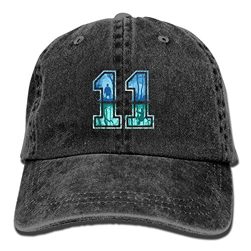 MabelTate-36 Strange Number 11 Mans Washed Twill Plain Water Polo Cap Adjustable headgear For Man (Numbers Twill)