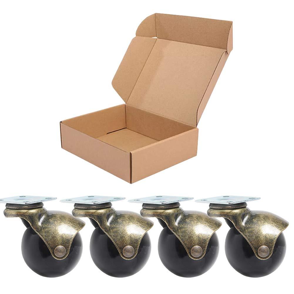 Confezione da 4/Anyke 3,8/cm 40/mm oro antico Ball Caster ruota 360/gradi top piastra girevole Caster
