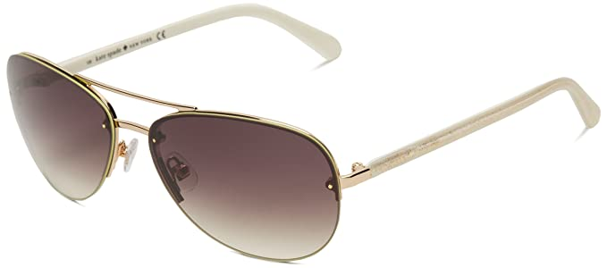 74b57c4a4 Kate Spade Women's Beryls Aviator Sunglasses,Rose Gold ivory temples,59 mm