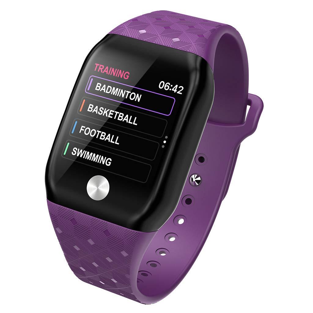 FEDULK Smart Bracelet Sports Fitness Activity Heart Rate Tracker Blood Pressure Bracele Smart Watch(Purple) by FEDULK