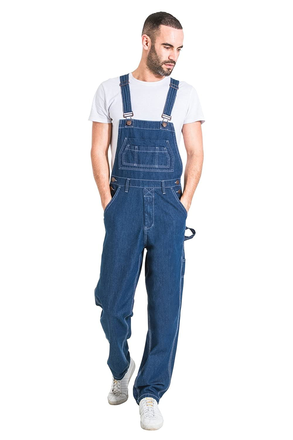 USKEES Mens Relaxed Fit Denim Dungarees - Stonewash Value Overalls Cheap Dungarees MENSVALUESW