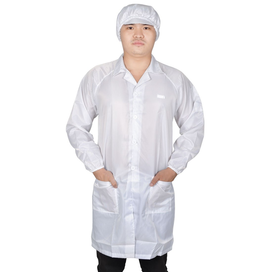 uxcell Women White Point Collar Anti Static Clean Room ESD Overall Gown w Cap L