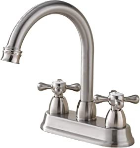 SHACO Best Commercial Brushed Nickel 2 Handle Centerset bathroom faucet, Stainless Steel Bathroom Sink Faucet