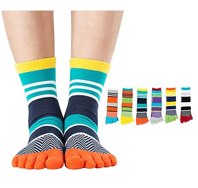 cd28fa5a3c365 Men's Five Finger Toe Socks Cotton Crew Casual Colorful Patterned 5/6 Pairs