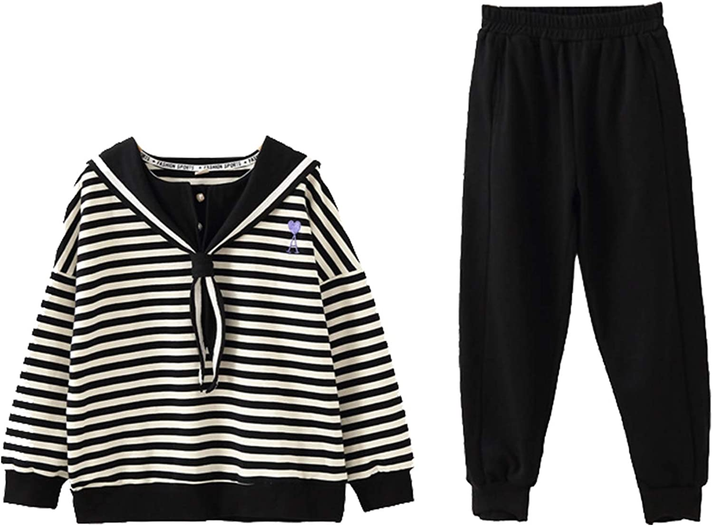amropi Ragazze A Righe Cappuccio Camicia e Jogging Pantaloni 2 Pezzi Outfits Abbigliamento Set