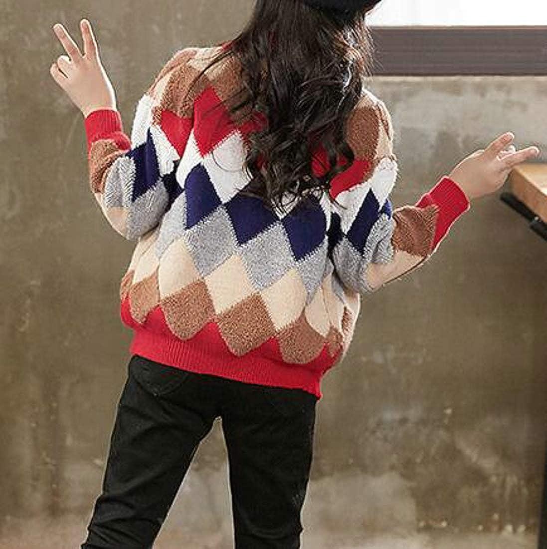 Etecredpow Girls Casual Button-Down Coat Argyle Knit Sweater Cardigans