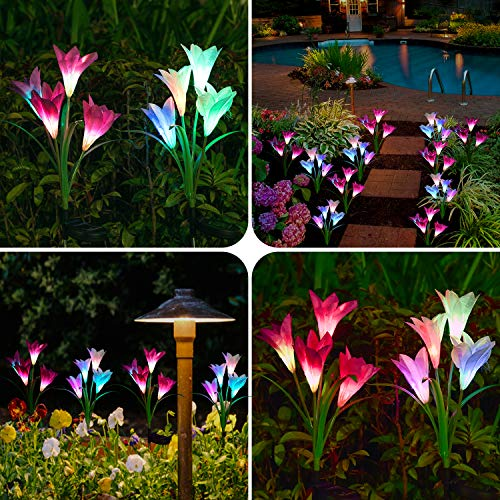 Doingart Solar Lights Outdoor – New Upgraded Solar Garden Lights, Multi-Color Changing Lily Solar Flower Lights for Patio,Yard Decoration, Bigger Flower and Wider Solar Panel (2 Pack,Purple and White)