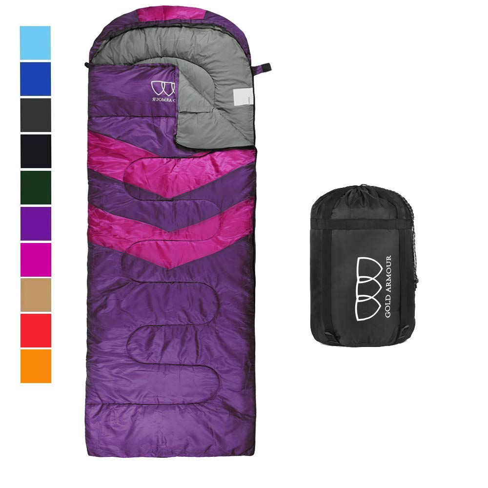 Sleeping Bag - Sleeping Bag for Indoor & Outdoor Use - Great for Kids, Boys, Girls, Teens & Adults. Ultralight and Compact Bags for Sleepover, Backpacking & Camping (Purple/Fuchsia Left Zipper) by Gold Armour
