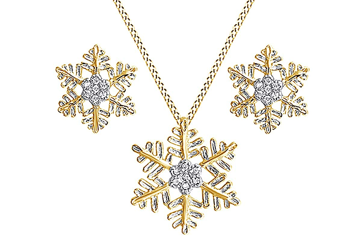 AFFY Snowflake Winter Cluster Pendant Necklace /& Earrings Set in 14K Gold Over Sterling Silver
