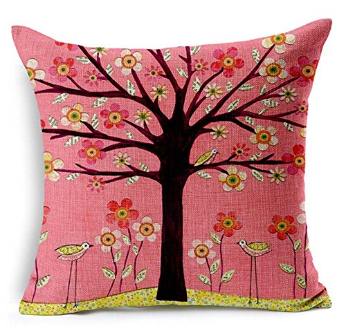 QINU KEONU Oil Painting Black Large Tree and Flower Birds Cotton Linen Throw Pillow Case Cushion Cover Home Sofa Decorative 18 X 18 Inch (Pink)