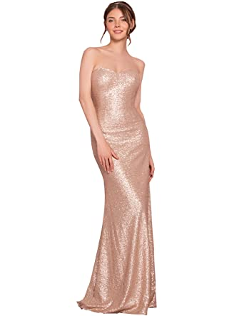 e8b3f88f0a Fashion Long Mermaid Sequined Strapless Bridesmaid Dress For Women Evening  Party Gown Bodycon Empire Waist Formal