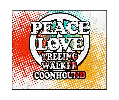 Makoroni - Peace Love Treeing Walker Coonhound Dog Dogs - Jigsaw Puzzle, 30 ()