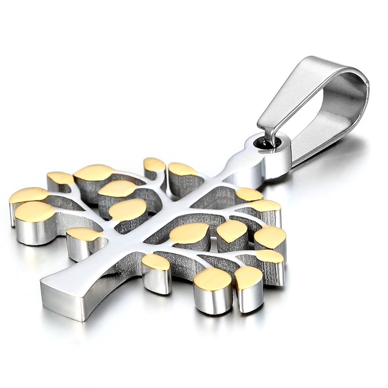 Jewelrywe Collar colgante de acero inoxidable Plata Oro Árbol de la vida