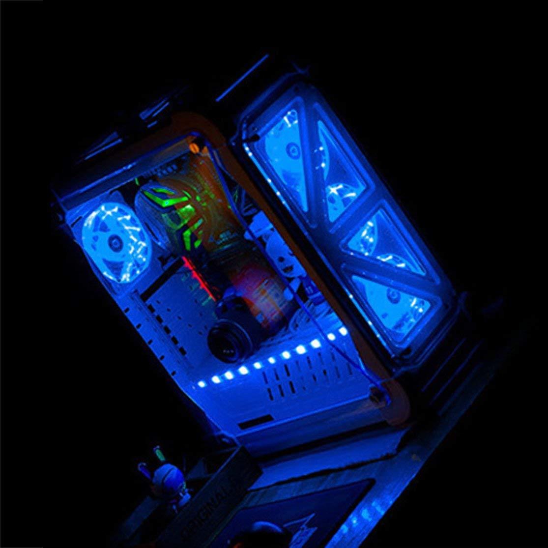 Kaemma Ventilador de Caja de PC con computadora Ultra silenciosa LED de 120 mm 15 LED 12V con Conector silencioso de Goma Molex Ventilador f/ácil de Instalar Color:Blue Light